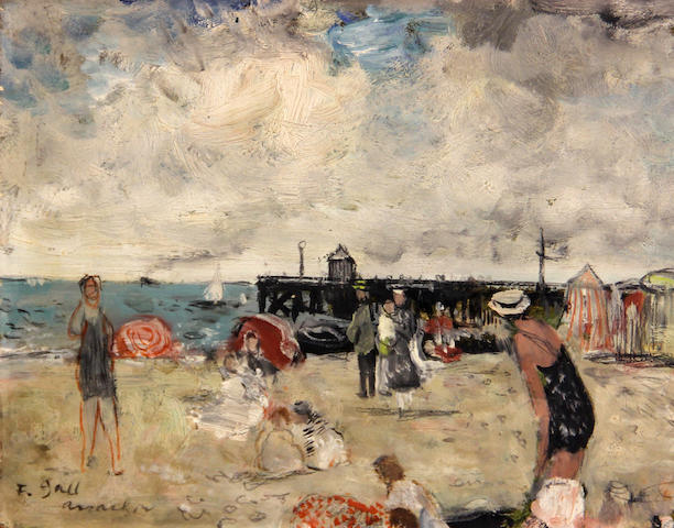 François Gall (French, 1912-1987) Eugénie assise, plage d'Arcachon, 1951 7 1/16 x 9 7/16in (18 x 24cm)