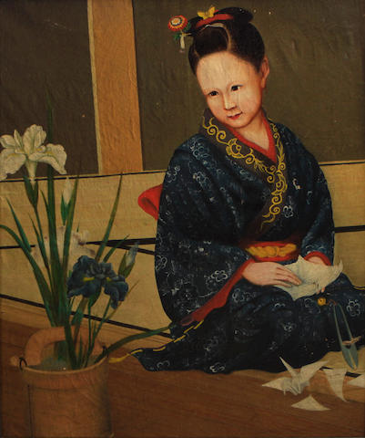 Continental School A seated Japanese girl in a kimono with flowers in a wooden bucket 30 2/4 x 25 1/2in