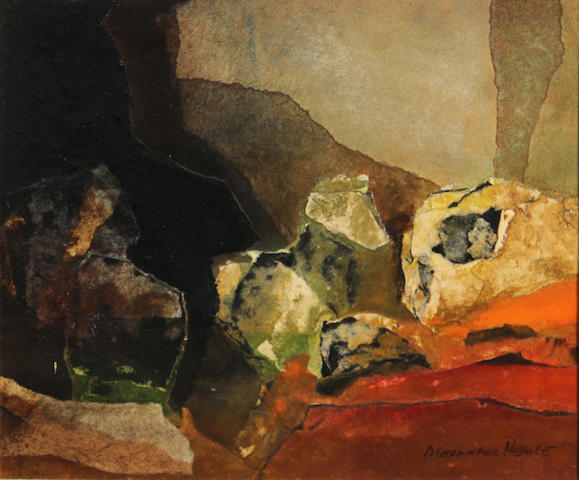 Alexander Nepote (American, 1913-1986) Luminous rocks 10 1/2 x 12 3/4in