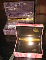An Italian amethyst quartz table box and an Italian rodocrosite table box late 20th century