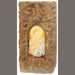 A Continental embroidered panel of the Virgin  17th/18th century