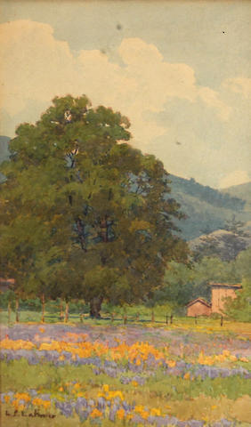 Lorenzo P. Latimer (American, 1857-1941) Oak tree, mountains, lupine and poppies, Ukiah, 1918 11 x 7in