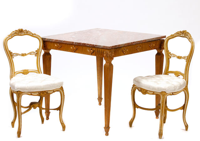 A Louis XVI style giltwood games table