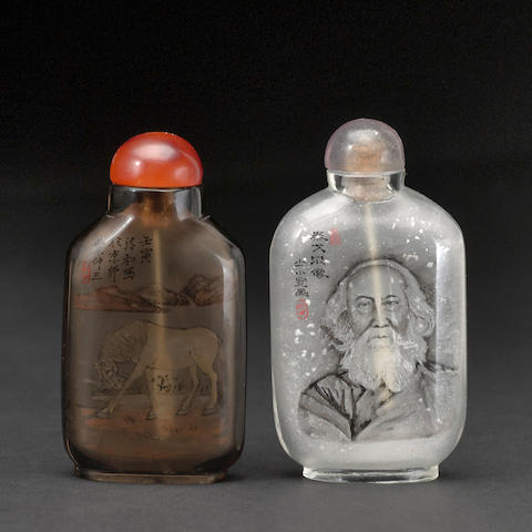 Two inside-painted glass snuff bottles