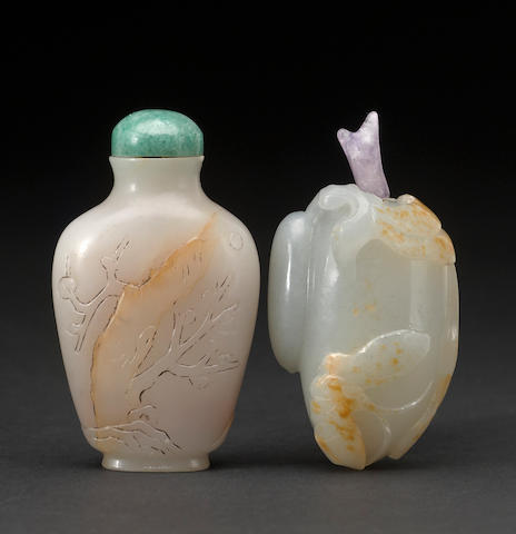 Two jade snuff bottles