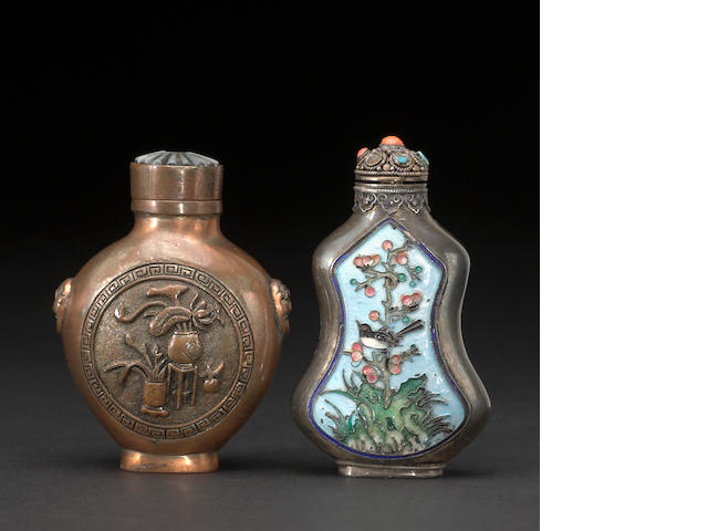 Two metal snuff bottles, one enameled, one with animal mask handles, 19th century