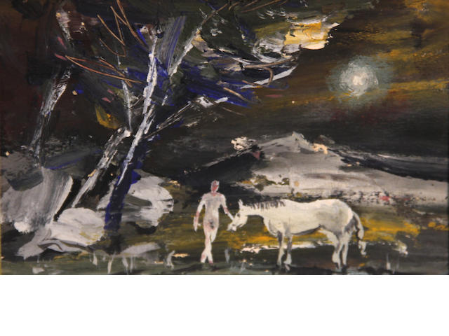 Louis Siegriest (American, 1899-1989) White elephant; Horse and colt; Nude man and woman under a tree among ruins; Nude man and horse under trees in moonlight (group of four) first 6 3/4 x 7 1/2in; second 6 1/4 x 7 1/4in; third 5 3/4 x 7 1/2; fourth 6 x 8in
