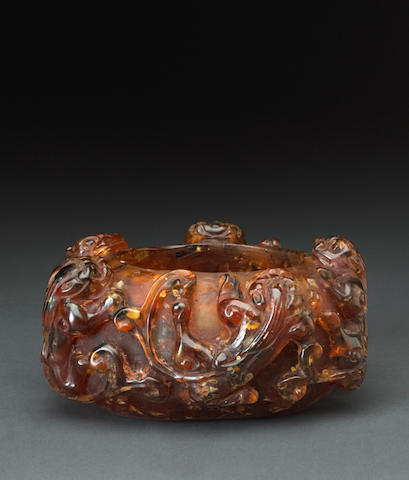 An amber brush washer Qing dynasty