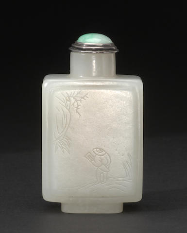 A nephrite square-sided snuff bottle with carved inscription