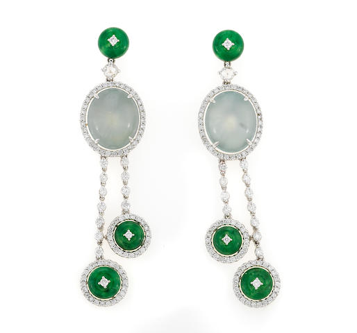 A pair of green jadeite jade, ice jade, and diamond earrings in 18k white gold