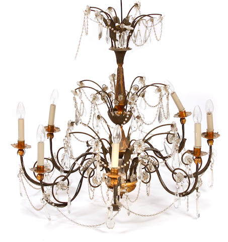 A pair of tôle peinte and cut glass chandeliers