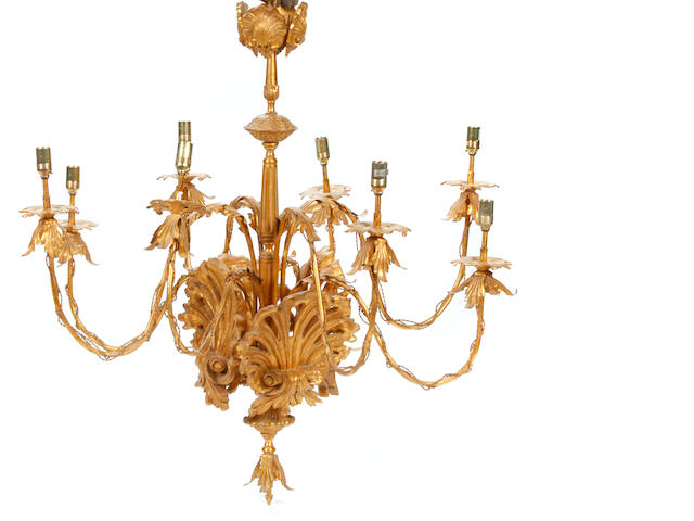 A giltwood and gilt metal chandelier with shell motif
