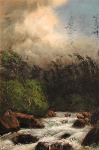 James Everett Stuart (American, 1852-1941) The storm, the gorge, Tygh Creek, Eastern Oregon, 1881 22 x 14in
