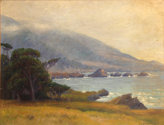 Elizabeth Strong (American, 1855-1941) Fog lifting on the coast 14 x 18 1/2in