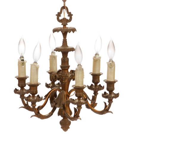 A pair of Louis XV style gilt bronze six light chandeliers