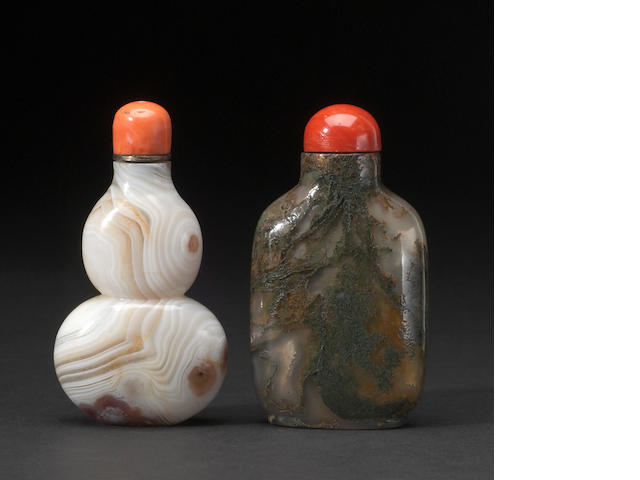 Two agate snuff bottles; one handed agate double gourd form and one more agate bottle