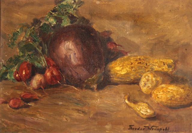 Theodor Wedepohl (American, 1863-1923) Still life with eggplant and squash 14 1/4 x 20in
