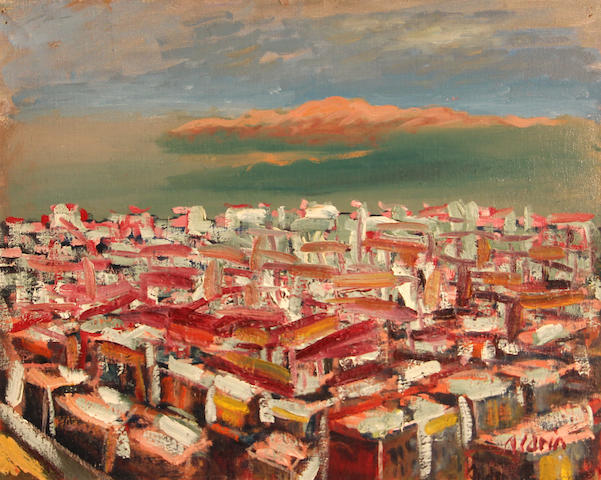 Anders Gustave Aldrin (American, 1889-1970) View over San Francisco 16 1/4 x 20 1/4in