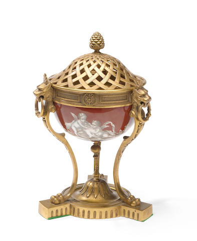 A French gilt bronze and porcelain censer late 19th century