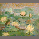 Attributed to Elizabeth Fisher Washington (American, 1871-1953) Lotus blossoms 14 1/2 x 17in