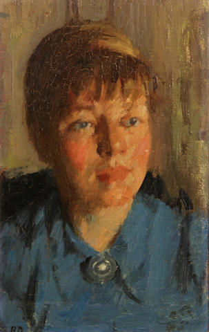 Bernard Dunstan (British, born 1920) Portrait of a woman in blue 10 1/2 x 7 1/4in