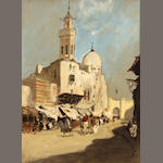 Attributed to Hercules Brabazon Barbazon (British, 1821-1906), Moroccan street scene, gouache/pp, 9 1/2 x 7in (sight)