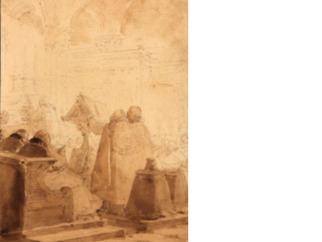 Attributed to Jean Baptiste Isabey (1767-1855), Clerics at mass, pencil and sepia wash/pp, 5 x 4in