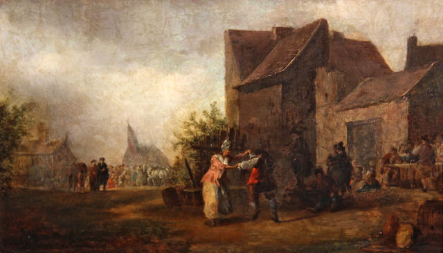 Continental School (18th C.), Couple dancing outside an inn, o/pnl, 7 1/2 x 13in