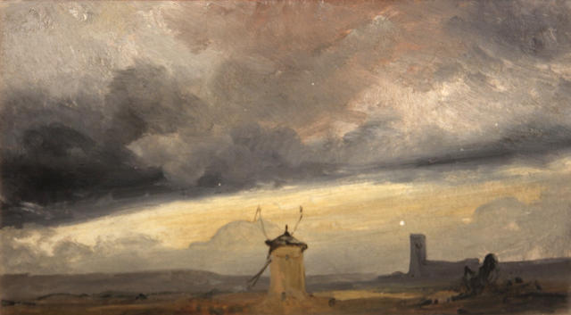Attributed to Georges Michel (French, 1763-1843), Landscape with windmill, o/c, 7 x 12 1/2in