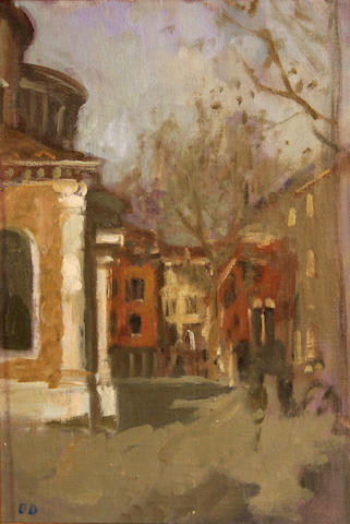 Bernard Dunstan (British, born 1920) Campo S. Giacomo dell'Orio sight 10 1/4 x 7 3/4in
