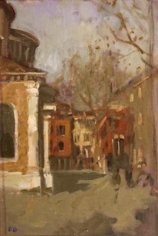 Bernard Dunstan (British, born 1920) Campo S. Giacomo dell'Orio sight 10 1/4 x 7 3/4in