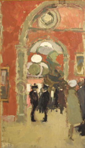 Bernard Dunstan (British, born 1920) Royal Academy, Private View Day sight 11 1/2 x 6 1/2in