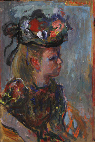 Constantin Terechkovitch, Young woman with hat, signed u/r: C. Terechkovitch, o/bd, 15 x 11in (sight)