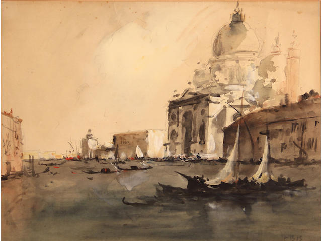 Hercules Brabazon Brabazon (British, 1821-1906), The Grand Canal, Venice, monogrammed l/r: HBB, wc and gouache/pp, 10 1/2 x 14in (sight)