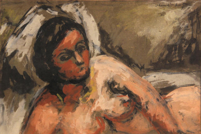 Attributed to Emmanuel Mané-Katz (Ukrainian/French, 1894-1962) Reclining female nude 9 x 13in