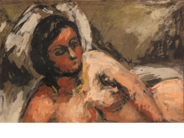 Mane Katz, Reclining female nude, signed u/r: Mane Katz, gouache/pp, 8 x 11in (sight)