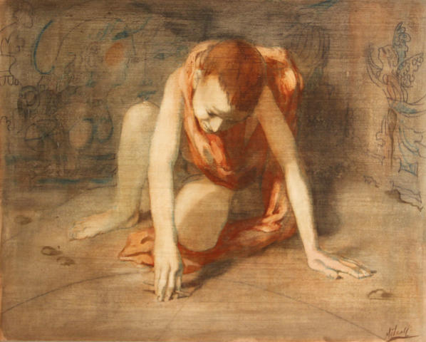 Conger Metcalf, Crouching figure, signed l/r: Metcalf, o/c, approx. 22 x 19in