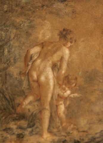 Followers of Francois Boucher (French, 1703-1770), Female nude with putti, colored chalk/pp, 6 x 4in (sight)