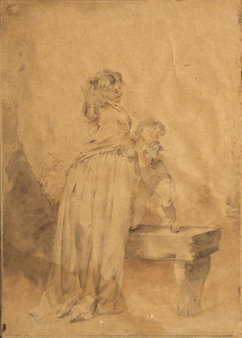 Attributed to Giusepp (Josef) Grassi (Austrian, 1755-1838), Woman with child, ink/pp, 7 1/2 x 5in
