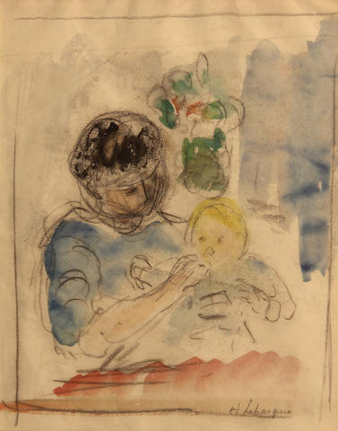 Henri Lebasque, * PENDING AUTHENTICATION * Mother feeding child, signed l/r: H. Lebasque, pencil and wc/pp, 8 1/2 x 6 1/2in (sight)