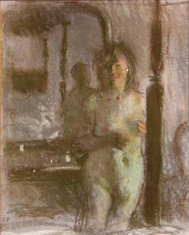 Bernard Dunstan (British, born 1920) Nude with a mirrior 14 1/4 x 11in