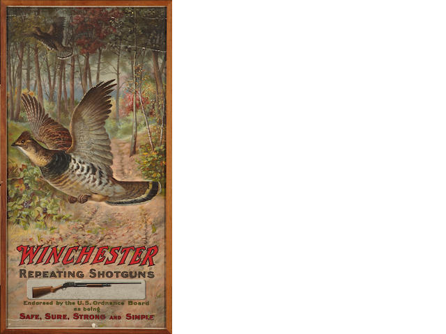 A Winchester Repeating Arms Company poster: Edward Knoble, Two Grouse Flying