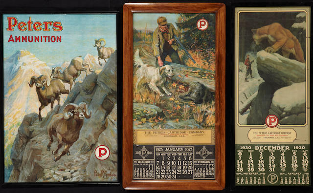 A Peters Cartridge Company poster and two calendars