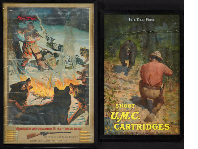 A lot of two vintage firearms posters