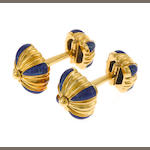 A pair of 18k gold enamel cufflinks, David Webb