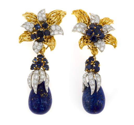 A pair of diamond, sapphire and lapis lazuli day/night earrings