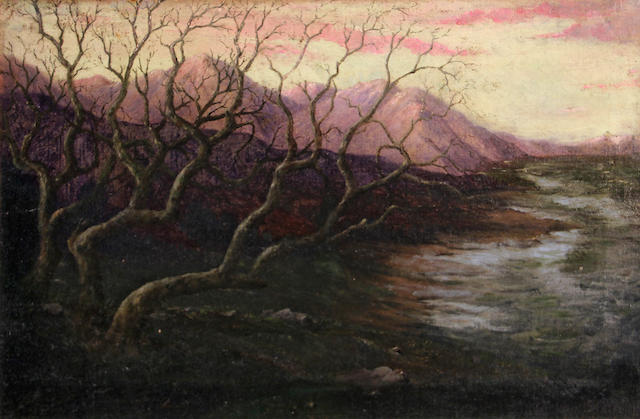 Paul Cornoyer (American, 1864-1923) Wintery sunset with mountains in the distance, 1921 16 x 24in