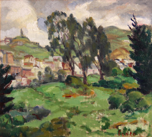 Rinaldo Cuneo (American, 1877-1939) Hillside homes 11 x 12in