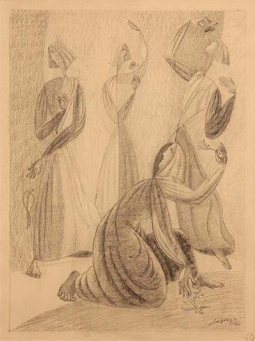 Léopold Survage (Russian, 1879-1968) Quatre femmes avec fleurs, 1942  sight 14 3/4 x 11in