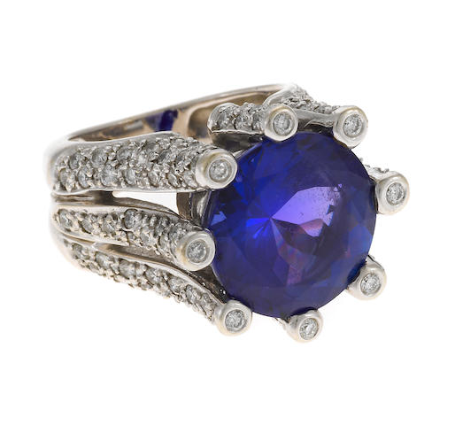 A tanzanite and diamond ring, Sonia B.